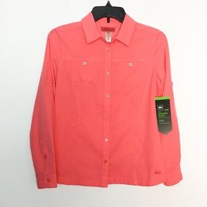 REI L 14/16 Hiking Camping Fishing Shirt Peach NWT